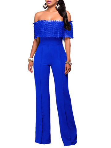 Ruffles Lace Party Jumpsuit Sexy Girlie now in Black White off the shoulder look.