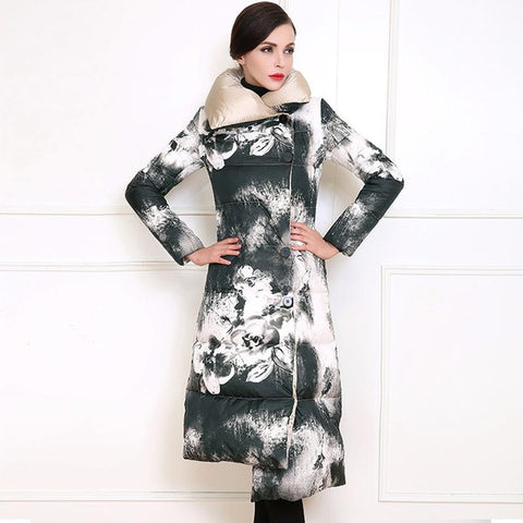 Girlie closet 2017 Fashion Winter  Ink Painting Parka Long Coat