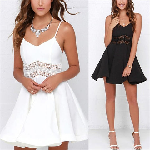 White Black Vestidos 2018 V Neck Crochet Lace Dress