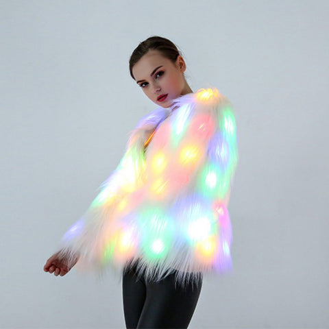 Faux Fur LED Light Coat Luminous for Clubbing Nites