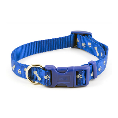 Ancol Blue Reflective Paw & Bone Collar
