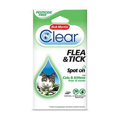 Bob Martin Flea Clear Spot on Treatment for Cats 3 Pack