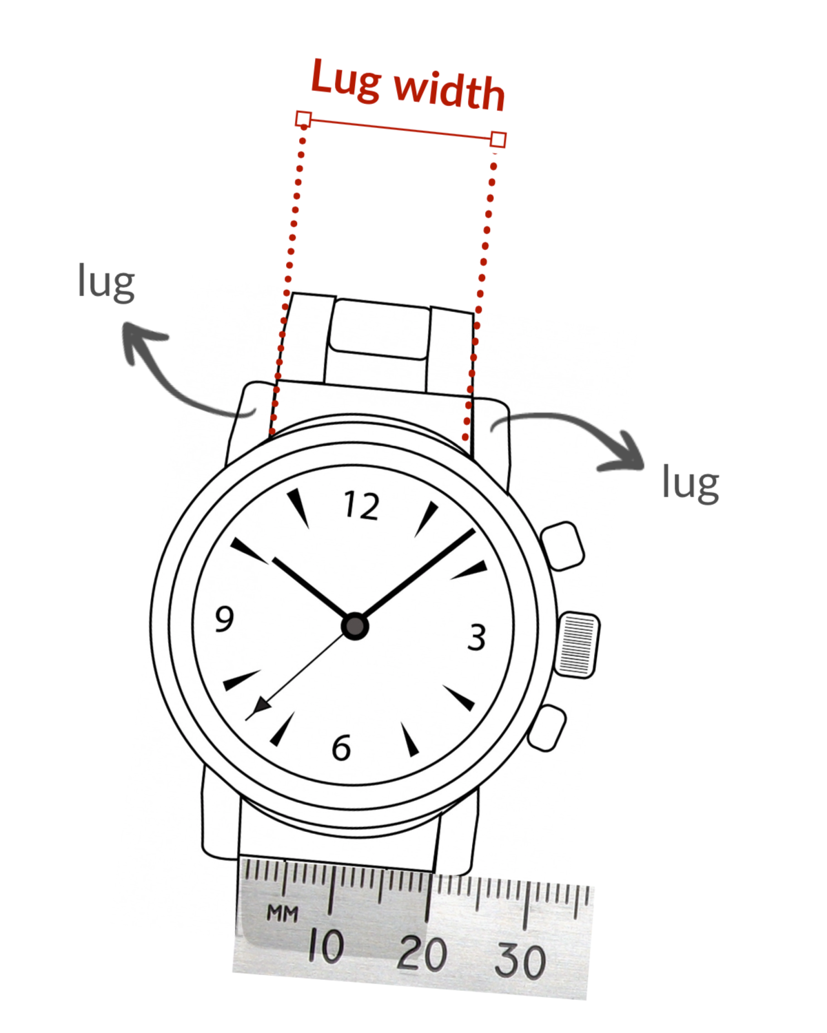 how to measure lug width watch strap 22mm 20mm