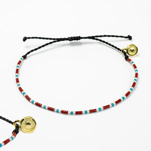 Midsummer Night Dark Beaded bracelet with 18K Gold Charm