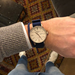 Load image into Gallery viewer, 20 mm blue nato watch strap