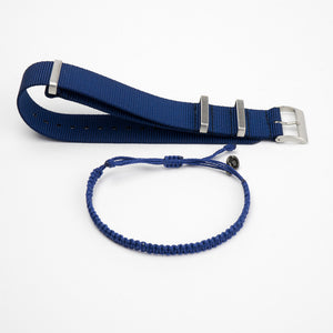 blue nato watch strap & blue bracelet giftpack