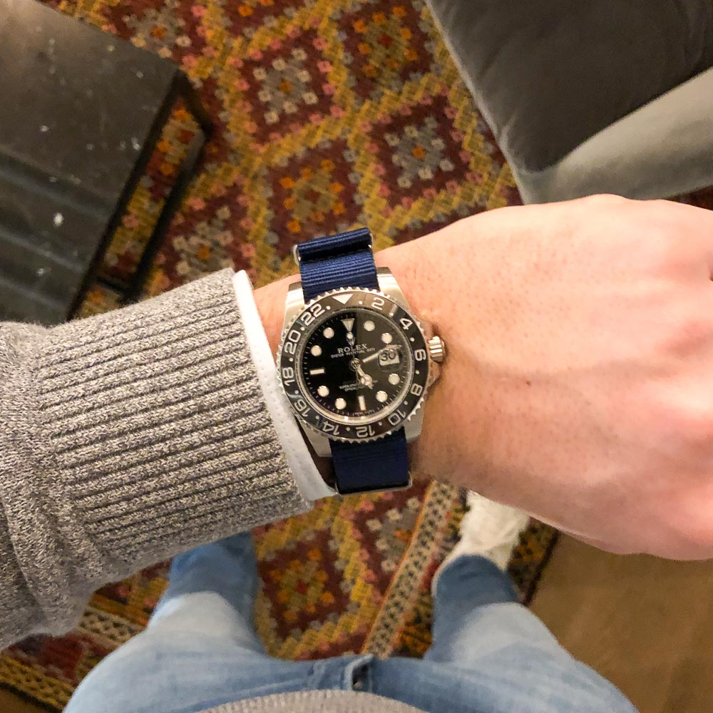 rolex gmt blue nato watch strap 20 mm
