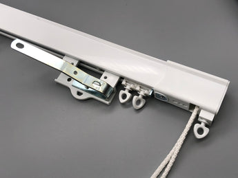 Commercial Curtain Track / Aluminium Curtain Track with Cord Draw - White or Silver - www.mydecorstore.co.uk