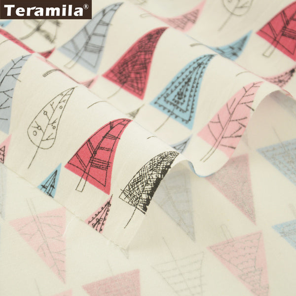 Blue And Red Trees Design White Cotton Twill Fabric Home Textile Sewing Bedding Quilt Cloth Crafts