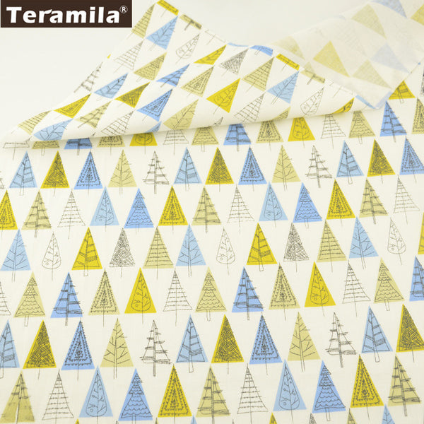 Blue And Yellow Trees Design White Cotton Twill Fabric Home Textile Sewing Bedding Quilt Cloth