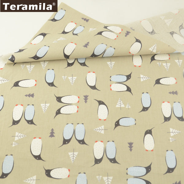 Double Penuins Design 100% Cotton Twill Fabric Home Textile Sewing Bedding Quilt Cloth Crafts