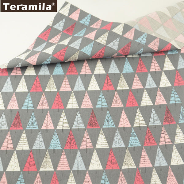 Blue And Red Trees Design Gray  Cotton Twill Fabric Home Textile Sewing Bedding Quilt Cloth Craft