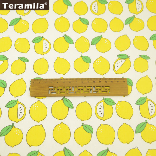 Yellow Lemon Design 100% Cotton Twill Fabric Home Textile Sewing Bedding Quilt Cloth Crafts