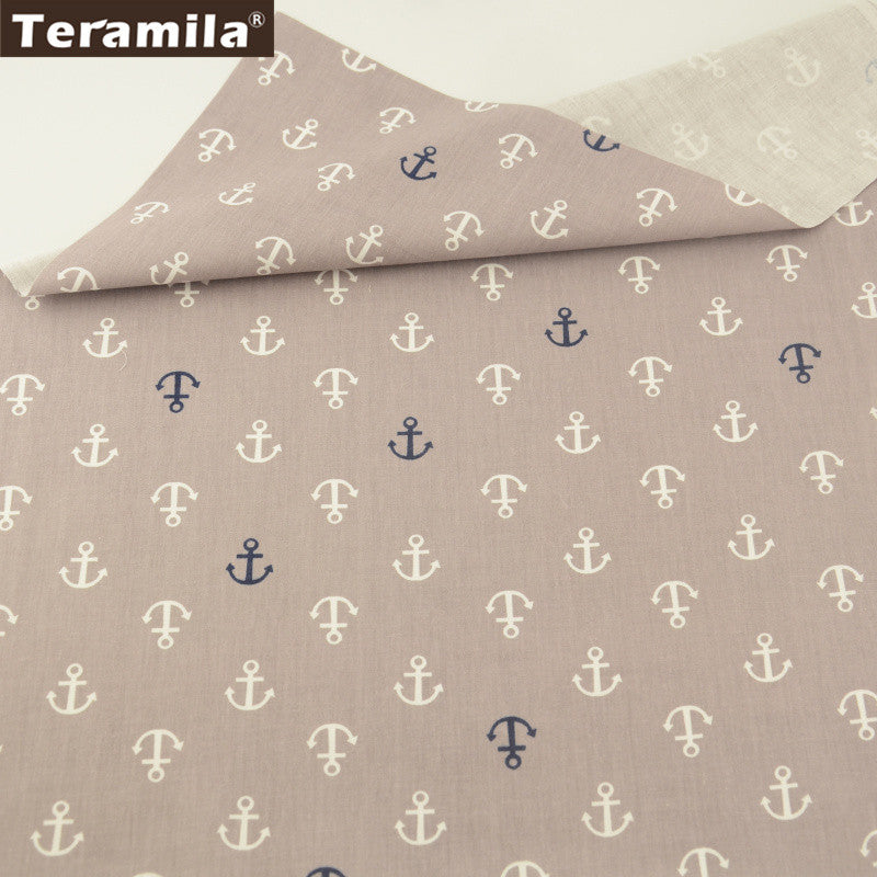 Black And White Anchors 100% Cotton Twill Fabric Home Textile Sewing Bedding Quilt Cloth Craft