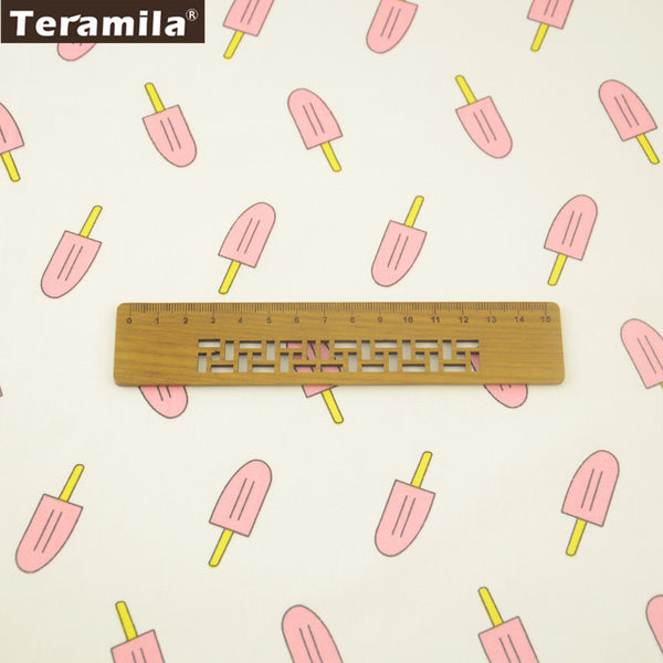 Pink Popsicles Design White Cotton Twill Fabric Home Textile Sewing Bedding Quilt Cloth Crafts