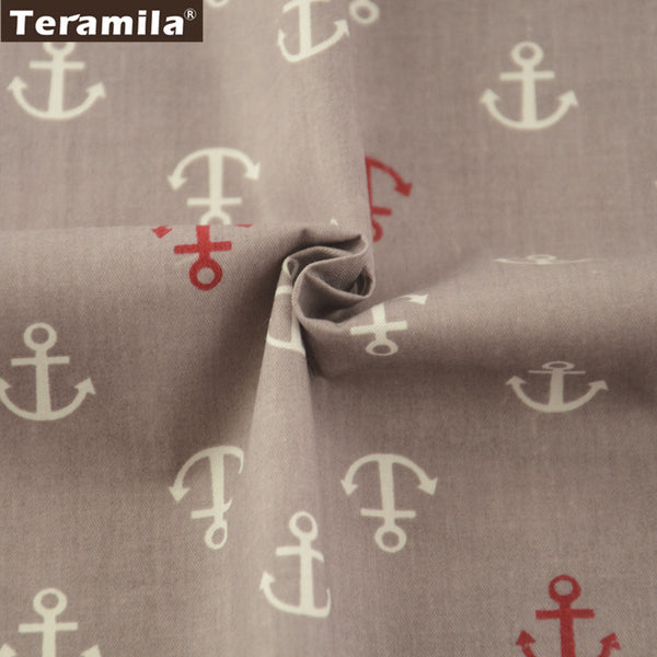 Red And White Anchor Cotton Twill Fabric Teramila Home Textile Sewing Bedding Quilt Cloth Craft