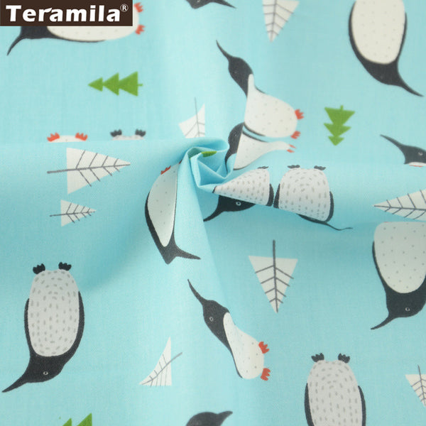 Double Penuins Design Light Blue Cotton Twill Fabric Home Textile Sewing Bedding Quilt Cloth Craft