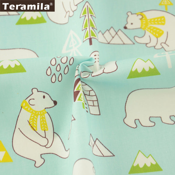 Lovely Bears Design Home Textile Cotton Twill Fabric Sewing Light Blue Quilting Patchwork Crafts