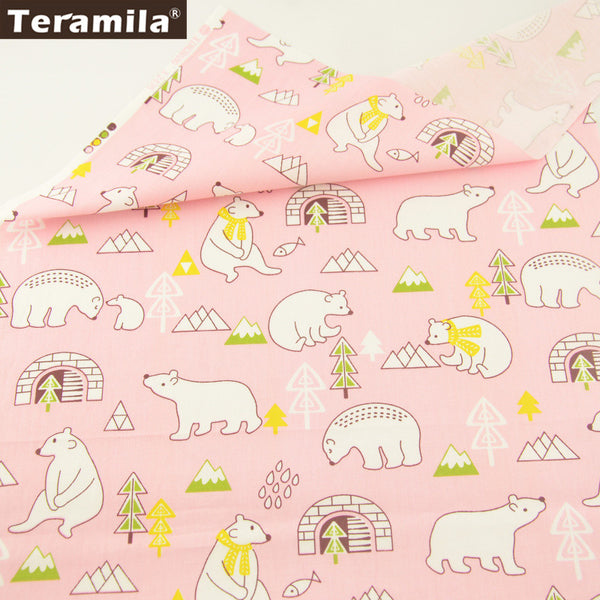 Lovely Bears Design Home Textile Light Pink 100% Cotton Twill Fabric Sewing Bedding Set Patchwork