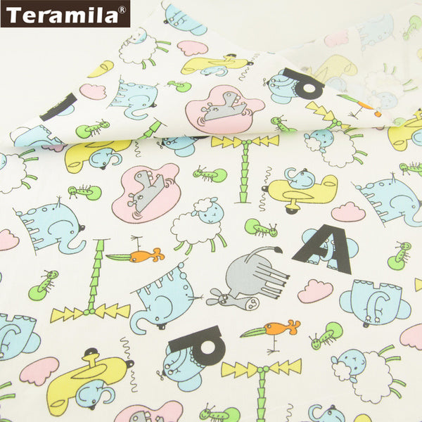 100% Cotton Twill Fabric Lovely Colorful Animals Design Sewing Bedding Set Quilting Clothing