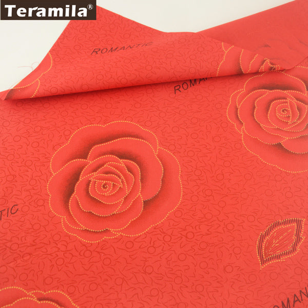 Scrapbooking Rose Red 100% Cotton Twill Fabric Sewing Bedding Set Dolls Patchwork Quilting