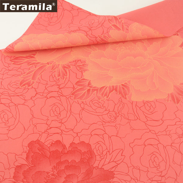 Home Textile 100% Cotton Twill Fabric Sewing Bedding Set Dolls Scrapbooking Quilting Peony Pattern