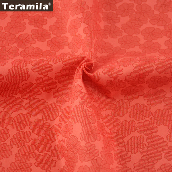 Home Textile Red Flowers 100% Cotton Twill Fabric Sewing Dolls Patchwork Scrapbooking Clothing