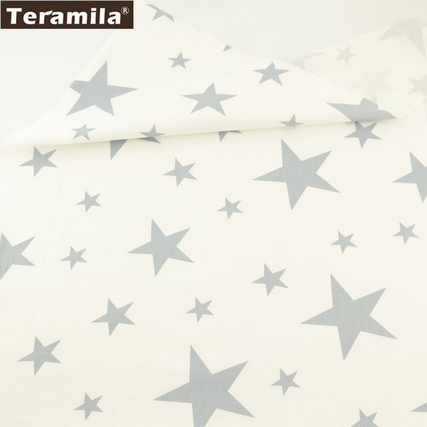 Home Textile 100% Cotton Twill Fabric Gray Stars Design Patchwork Sewing Bedding Set Clothing