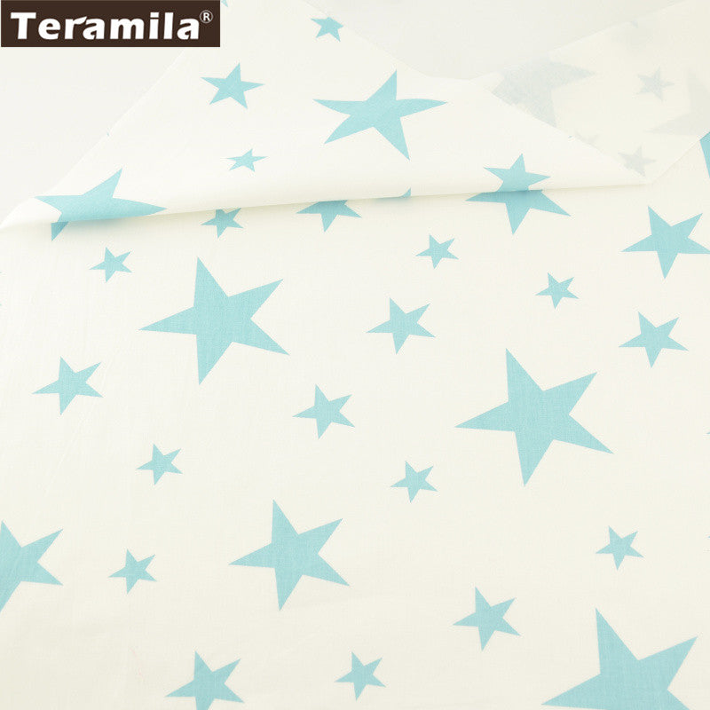 Home Textile 100% Cotton Twill Fabric Blue Stars Pattern Patchwork Sewing Bedding Set Quilting