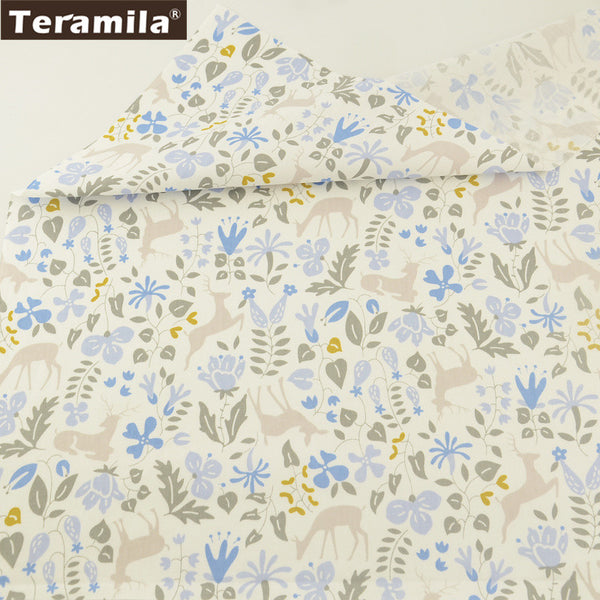 100% Cotton Twill Fabric Curtains Pillows Meter Fabric For Sewing Elk And Flower Pattern Dolls
