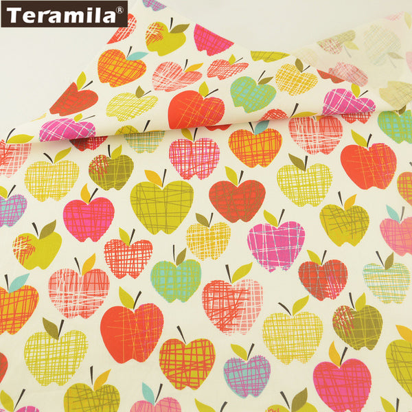 Girl Dress Curtains Clothing For Art Work Colorful Apples 100% Cotton Twill Fabric Dolls Crafts