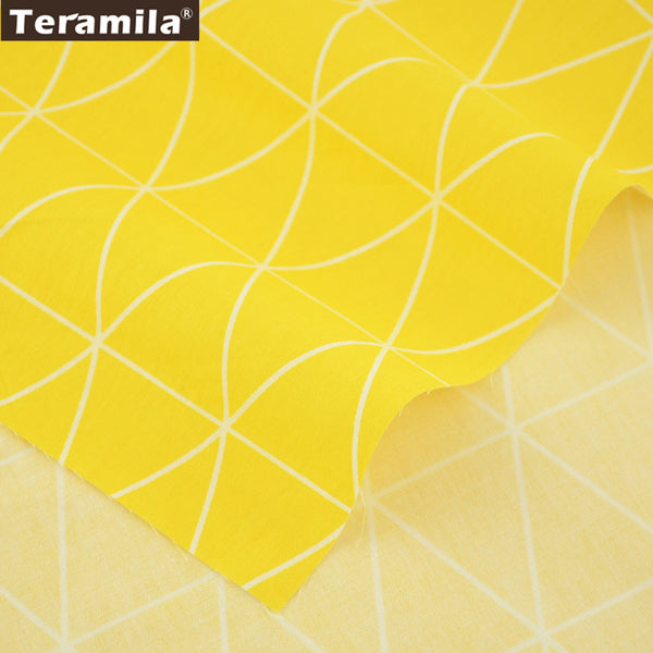 Meter Fabric For Sewing Pillows Decorations Triangle Designs Yellow 100% Cotton Twill Fabric