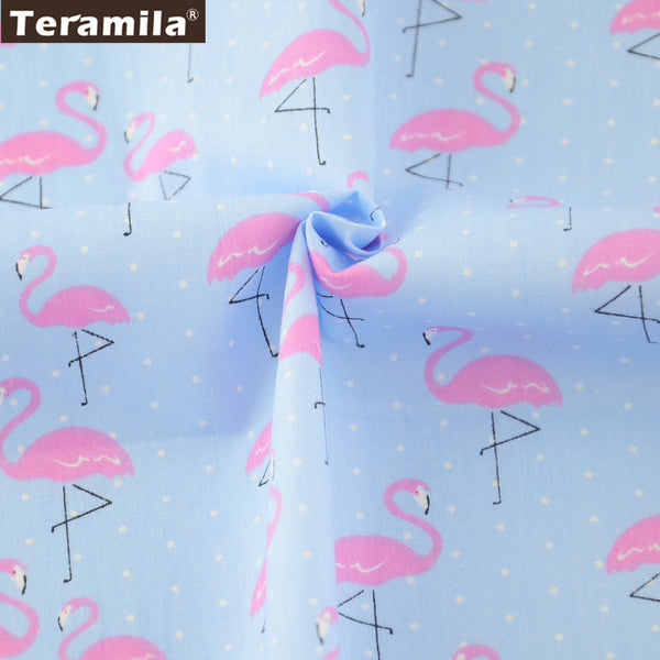 Blue 100% New Arrival Cotton Twill Fabric Red Crowned Crane Pattern Bedding Set Dolls Crafts
