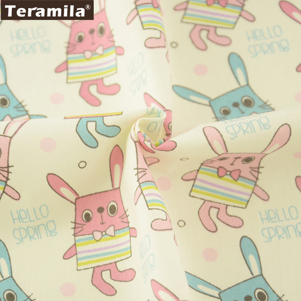 Dolls Lovely Blue And Pink Rabbits Pattern Cotton Twill Fabric Curtains Pillows Quilting Crafts
