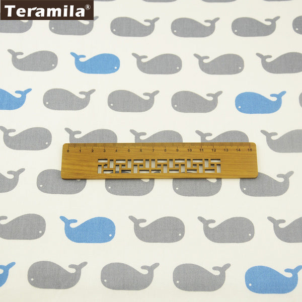 100% Cotton Twill Fabric Little Whales Pattern Curtains Pillows Quilting Clothing Art Work Dolls