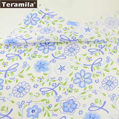 Home Textile Beginner Practice Blue Flower Pattern Bedding Set Scrapbooking Cotton Twill Fabric