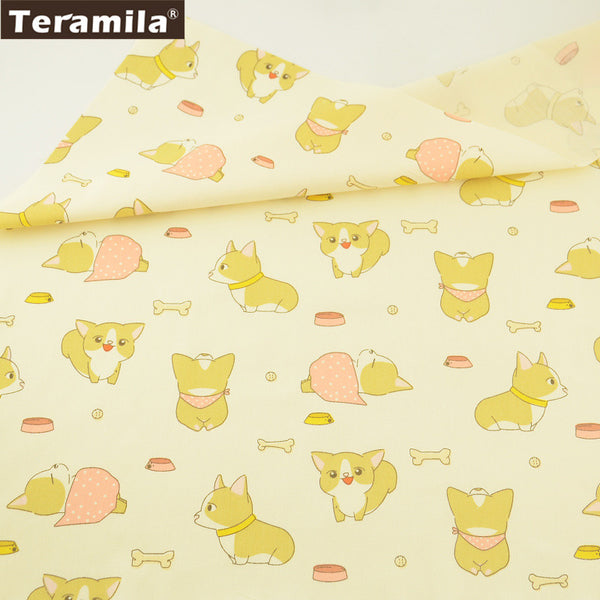 Cushion Scrapbooking Quilting 100% Cotton Twill Fabric Lovely Baby Dog Pattern Patchwork Dolls