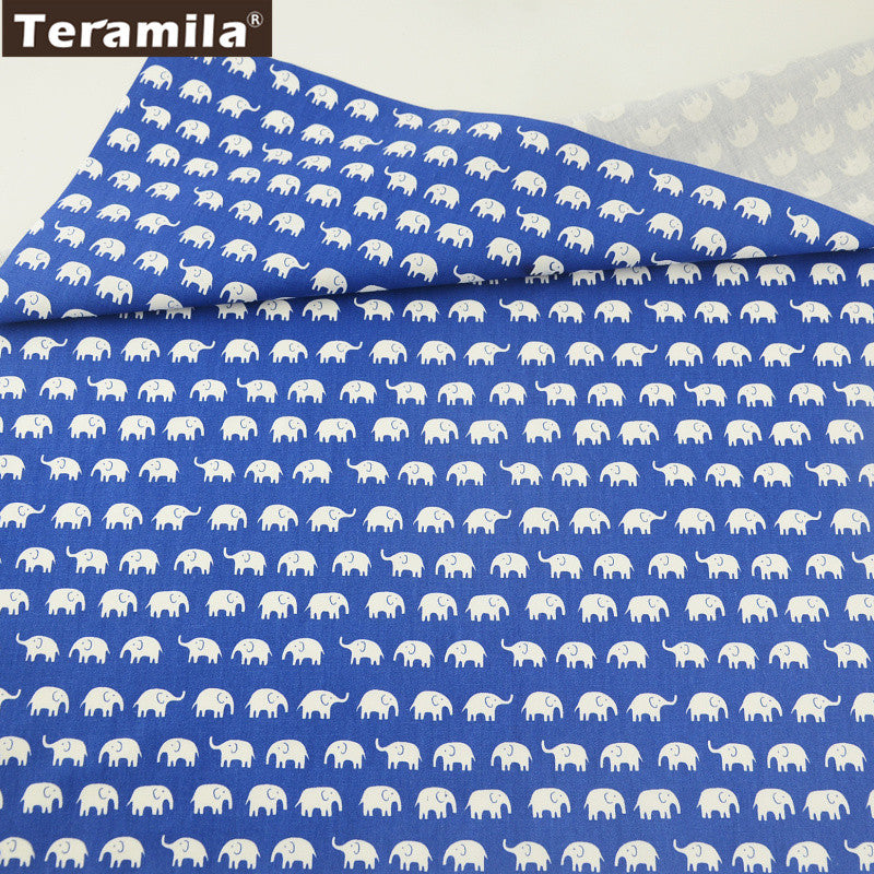 Little Elephants Pattern Blue Cotton Twill Fabric Beginner Practice Art Work Decorations Crafts