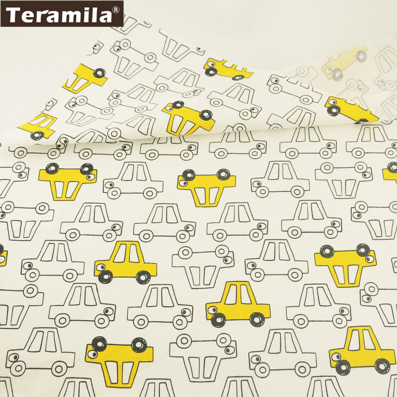 White And Yellow Cars Design 100% Cotton Twill Fabric New Arrival Clothing Dolls Cushion Dress