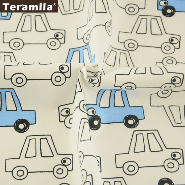 Meter Fabric For Sewing Home Textile Blue Cars Pattern Patchwork Crafts 100% Cotton Twill Fabric