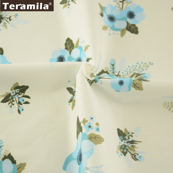 New Arrival Cotton Twill Fabric Blue Flower Pattern New Arrival Meter Fabric Sewing Decorations