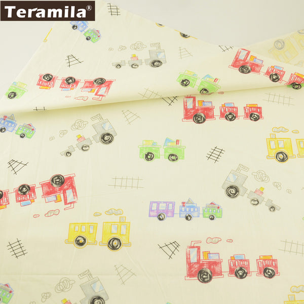 New Arrival Colorful Trains Pattern Bedding Set Beige Cotton Twill Fabric Home Textile Pillows Dolls