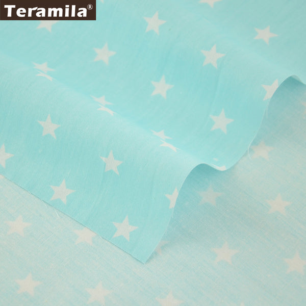 Light Blue Cotton Twill Fabric Patchwork Stars Design New Arrival Fat Quarter Bedding Set Crafts