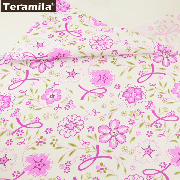 Decorations Home Textile Pink Flower Pattern New Arrival 100% Cotton Twill Fabric Fat Quarter Crafts