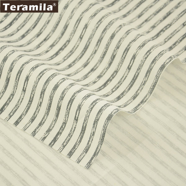 Meter Fabric Sewing Baby Dress Home Textile Clothing Gray Stripe Style Crafts Cotton Twill Fabric