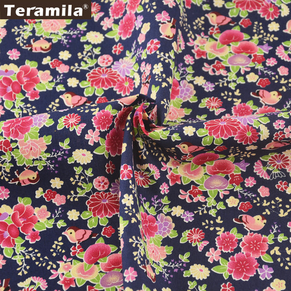 Cotton Poplin Fabric Crafts Clothing Floral And Birds Home Decoration Fat Quarter Meter Crafts