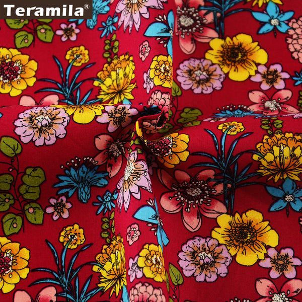 Cotton Poplin Fabric Quilting Scrapbooking Floral Fat Quarter Meter Dress Home Decoration Crafts