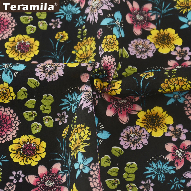 Cotton Poplin Fabric Crafts Black Fat Quarter Meter Floral Bedding Home Decoration Clothing Sewing
