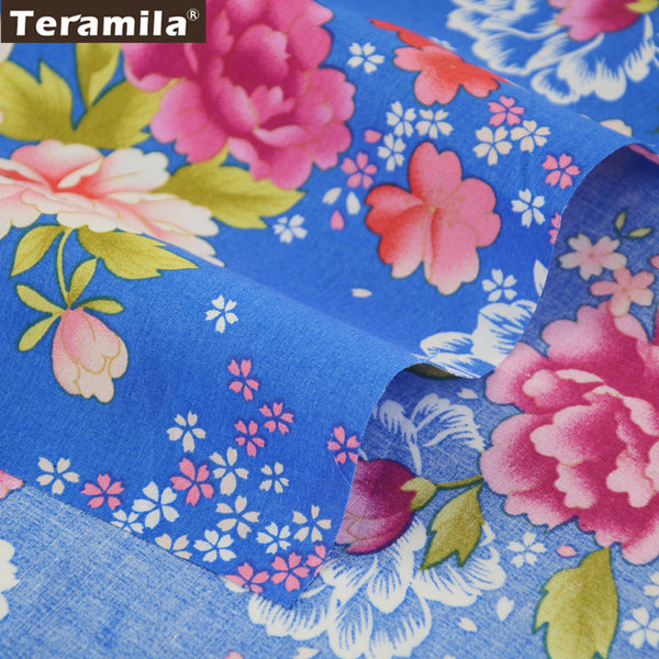 Cotton Poplin Fabric Patchwork Blue Clothing Peony Crafts Home Decoration Quilting Dress Shirt