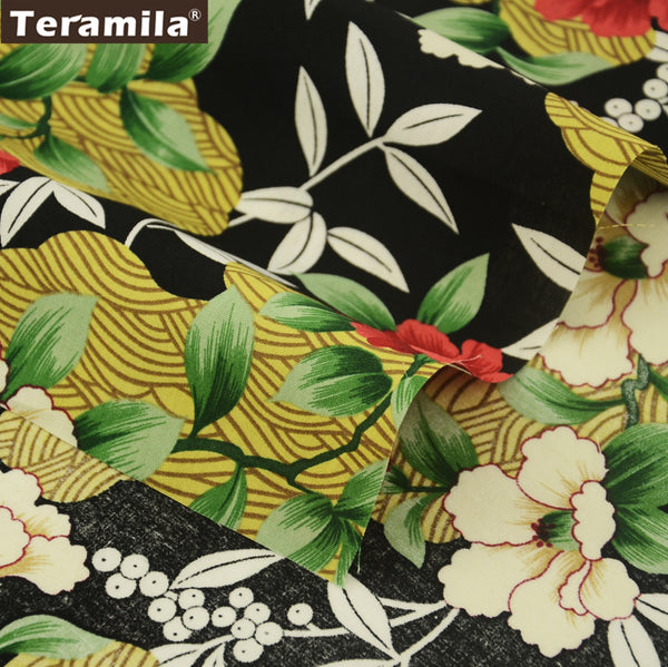 Cotton Poplin Fabric Black Home Decoration Camellia Fat Quarter Meter Pillows Dress Shirt Clothing